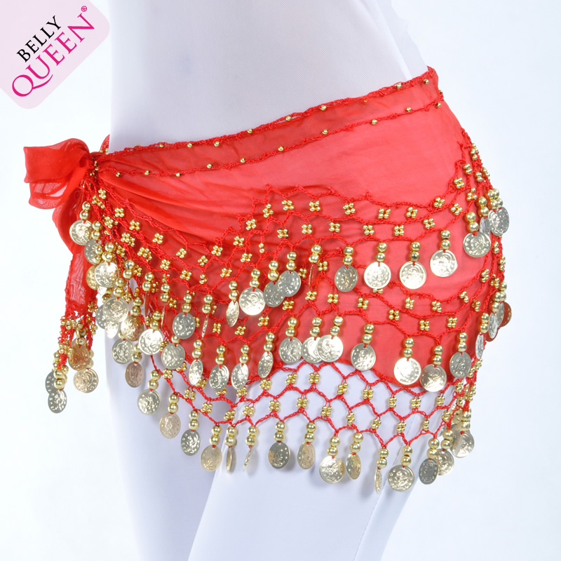 Dancewear Chiffon Gold Coins Belly Dance Hip Scarf More Colors
