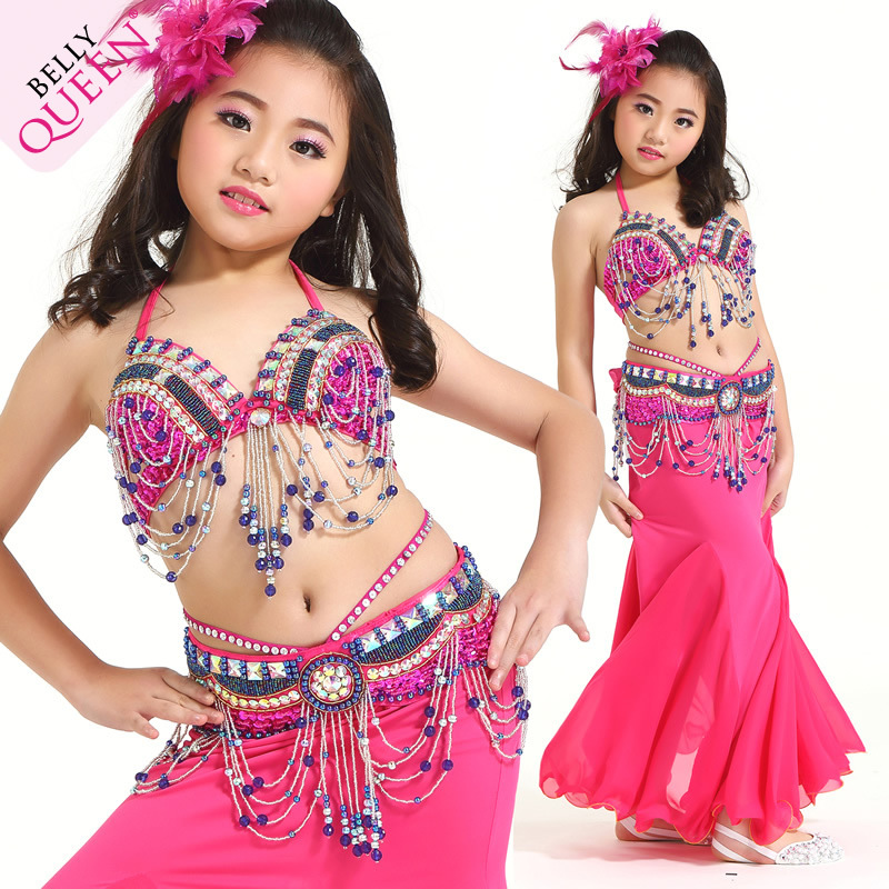 Professional Dancewear Polyester Kids Belly Dance Performance Co