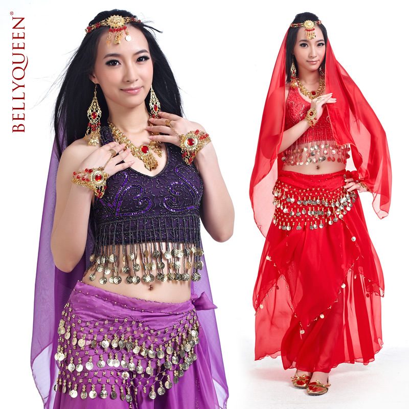 5 Pieces Dancewear Polyester Belly Dance Performance Wear For La