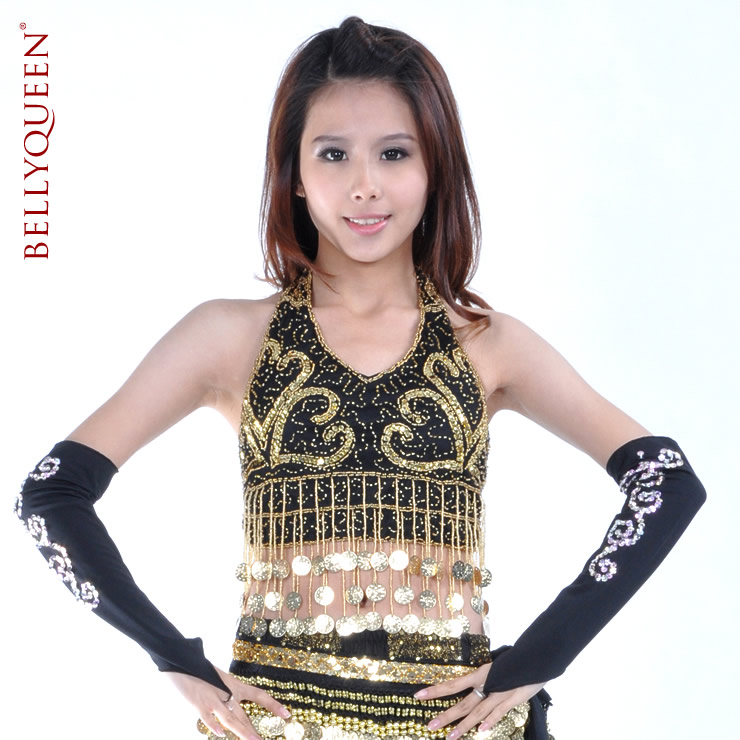 Dancewear Polyester With Coins Belly Dance Tops
