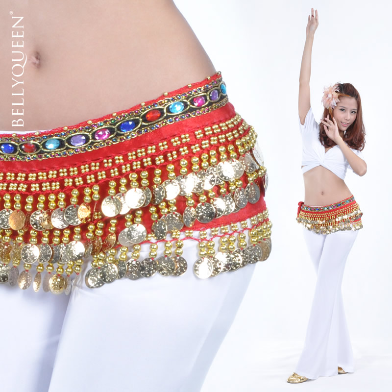 Dancewear Velvet With 228 Coins Belly Dance Hip Scarf for Ladies