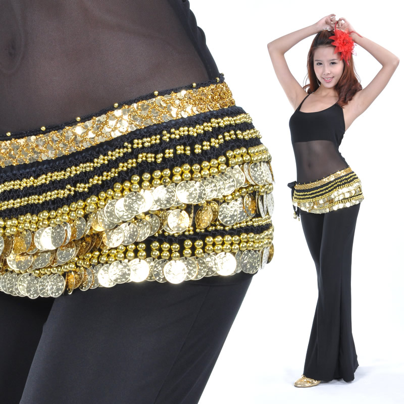 Dancewear Polyester 338 Gold Coins Belly Dance Hip Scarf More Co
