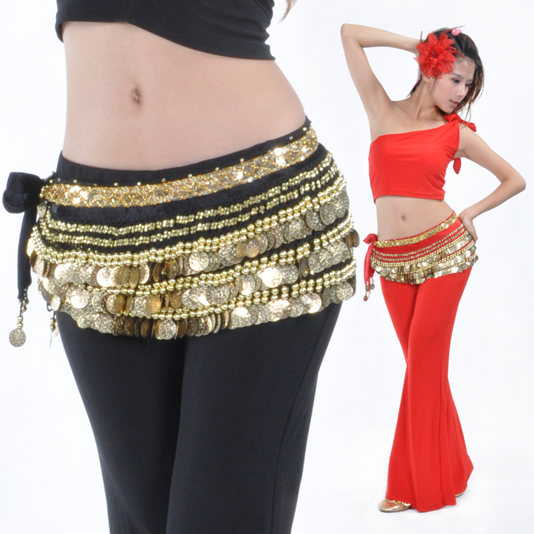 Dancewear Polyester 338 Gold Coins Belly Dance Hip Scarf More